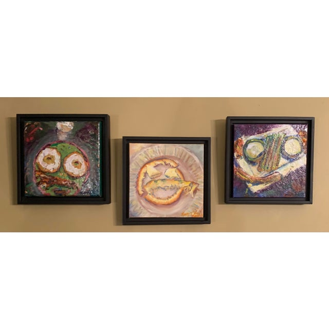 """2020s """"Breakfast, Lunch, and Dinner"""" Contemporary Still Life Oil Paintings, Framed - Set of 3 For Sale - Image 5 of 5"""