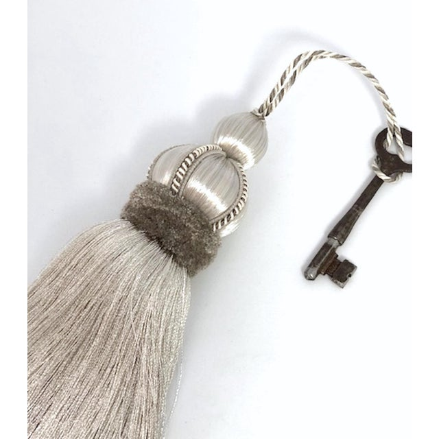 Silver Key Tassels With Cut Ruche - a Pair For Sale In New York - Image 6 of 11