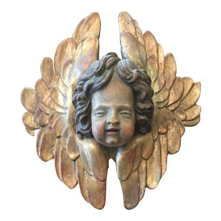 17th C. Hand Carved Gilded Cherub With Wings