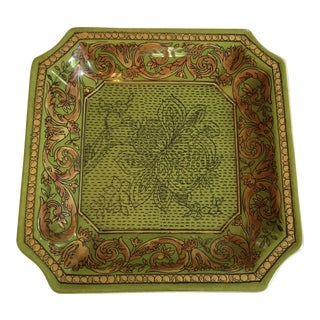 1980's Chinoiserie Square Avocado Green & Gold Tray For Sale