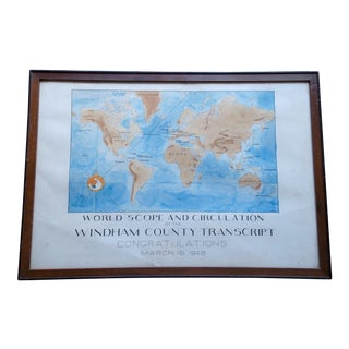 Original World Map Folk Art ,One of a Kind , Pen and Ink / Water Colors For Sale
