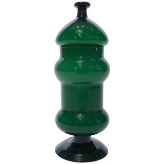 Vintage Emerald Green Glass Vase With Lid For Sale
