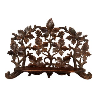 Antique Black Forest German Carved Grape Vine Clock Shelf For Sale