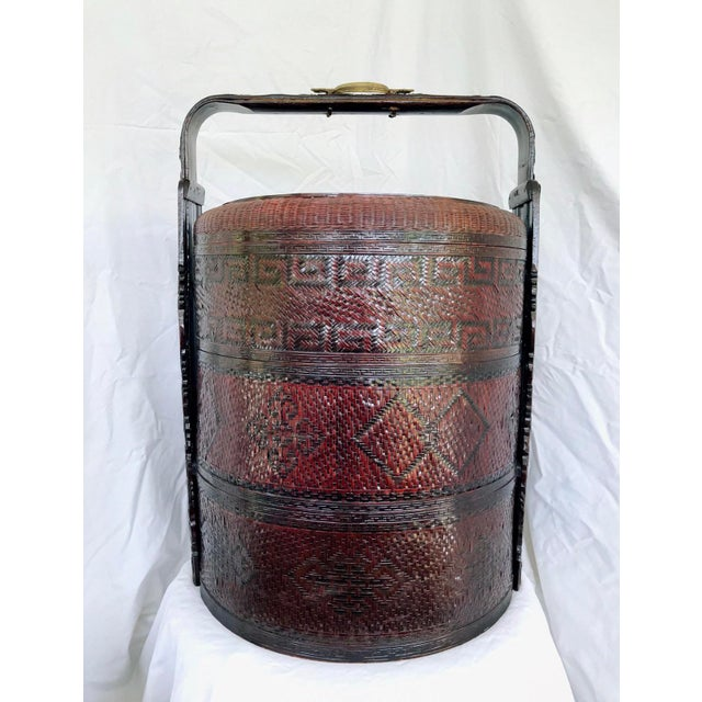 Asian Large Chinese Wedding Basket Rattan & Carved Wood 3 Tiered For Sale - Image 3 of 11