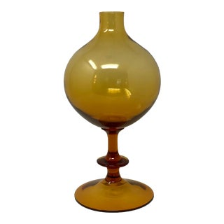 Mid Century Modern Orb Shape Footed Amber Glass Vase For Sale