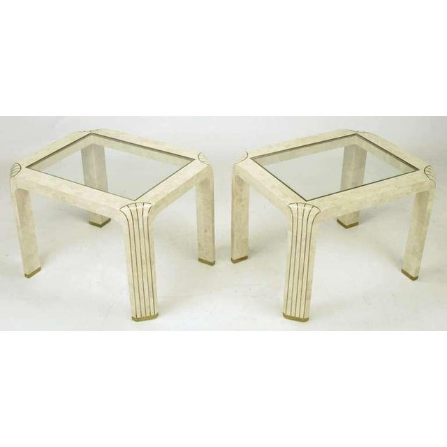 Pair Tessellated Fossil Stone & Inlaid Brass Side Tables - Image 2 of 8