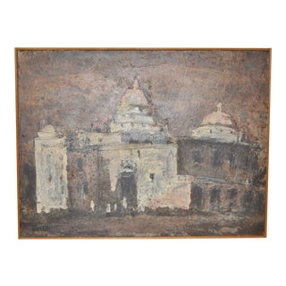 """Louie Bassi Siegriest Modernist Oil Painting """"Church in Mexico"""" C.1950s For Sale"""