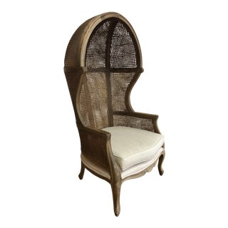 Porters Style Balloon Caned Chair For Sale