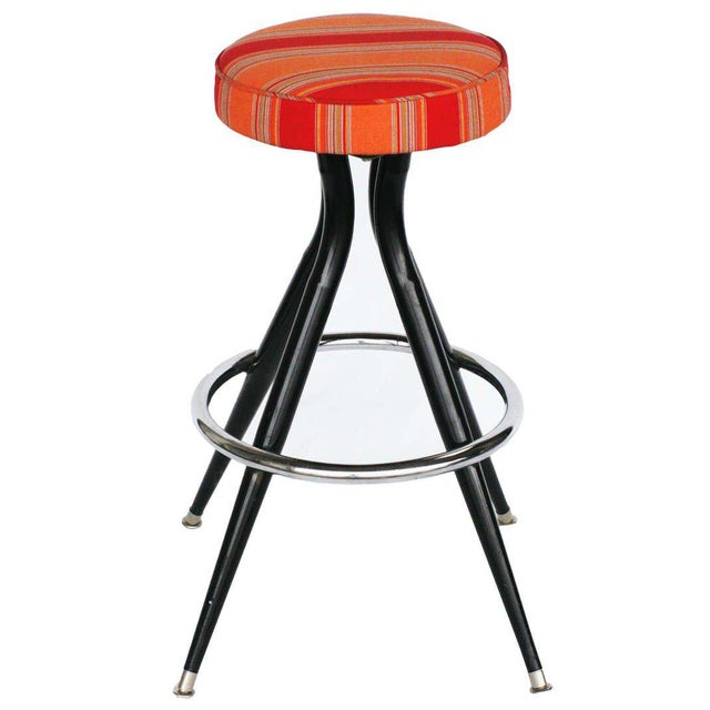 Mid-Century Modern Black Steel Swivel Bar Stools - Set of 3 For Sale - Image 3 of 5