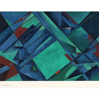 """""""Composition - Study"""" Late 20th Century Oil on Paper in Blue and Green For Sale"""