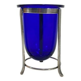 Cobalt Glass Vase & Silverplate Stand For Sale