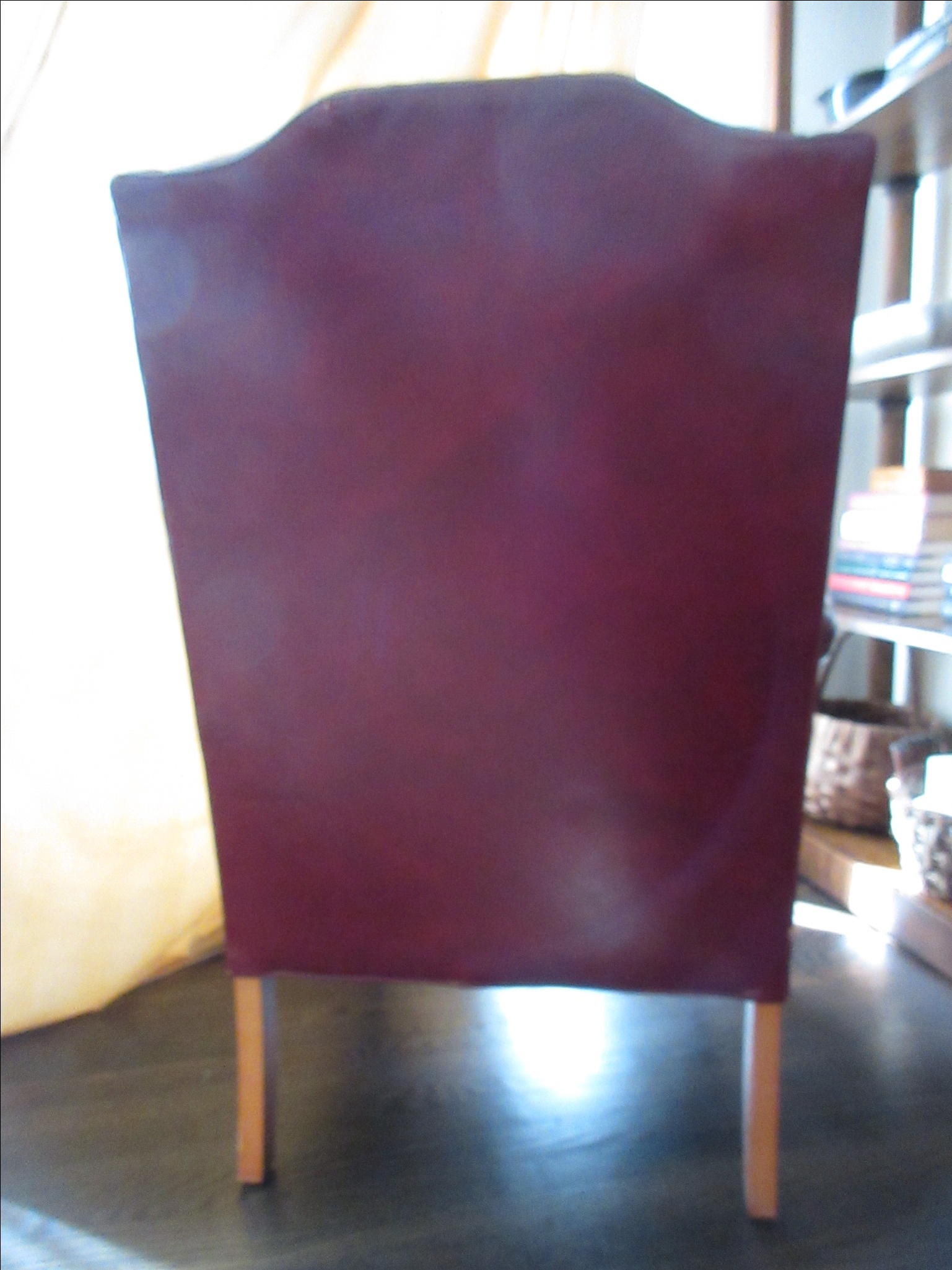 Bon Hickory Furniture Red Leather Wing Chair   Image 4 Of 11