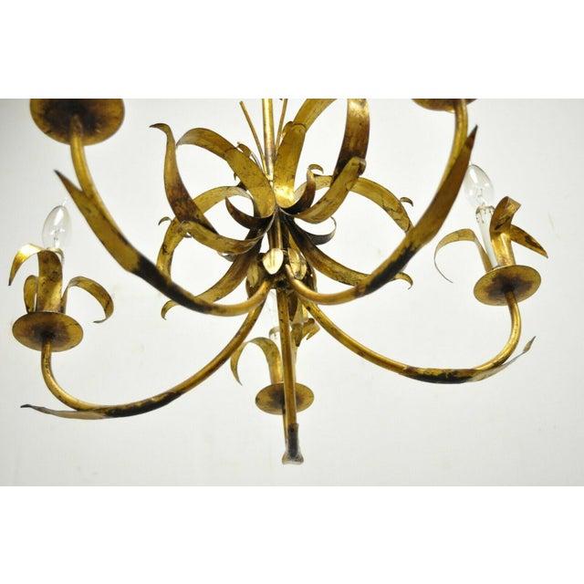 Gold Vintage Ferrocolor Italian Hollywood Regency Gold Gilt Tole Metal Chandelier For Sale - Image 8 of 11