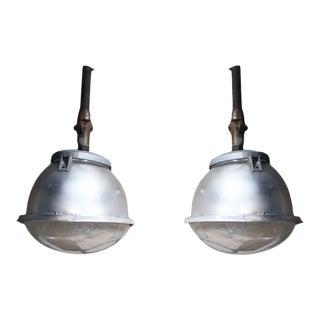 Pair of Vintage Industrial Pendant Lights-Belgium 1940 For Sale