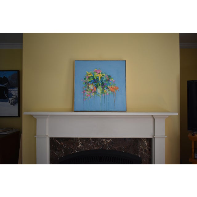 "Abstract Abstract ""Bouquet on a Blue Ground"" Painting by Stephen Remick For Sale - Image 3 of 13"