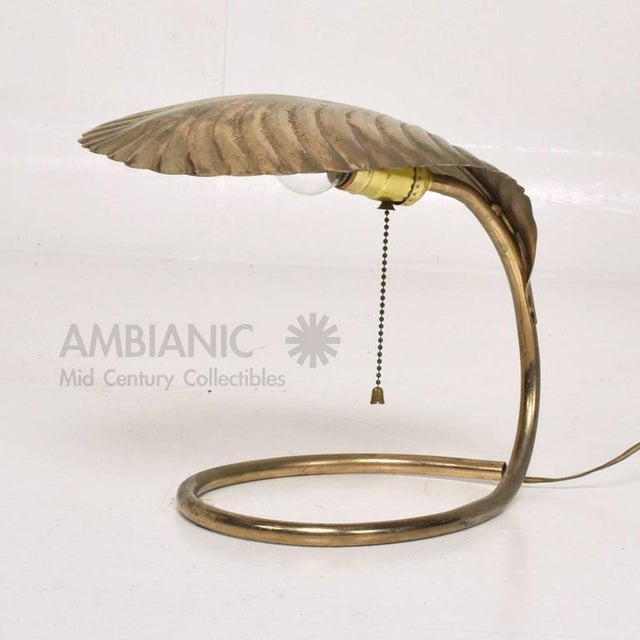 Brass Leaf Shade Brass Table Lamp For Sale - Image 7 of 9