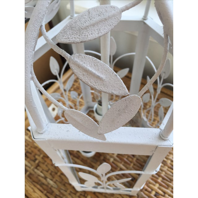 Vintage White Hexagon Light Fixture - Image 10 of 11