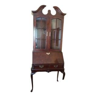 Solid Wood Secretary Desk W/Display Hutch For Sale