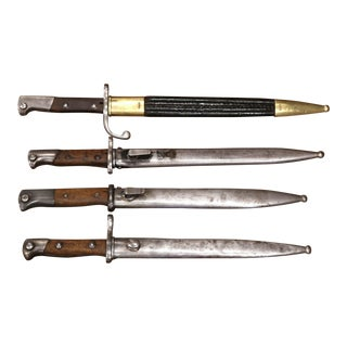 Set of Four 19th Century German Iron Bayonets and Sheaths With Wood Handles For Sale