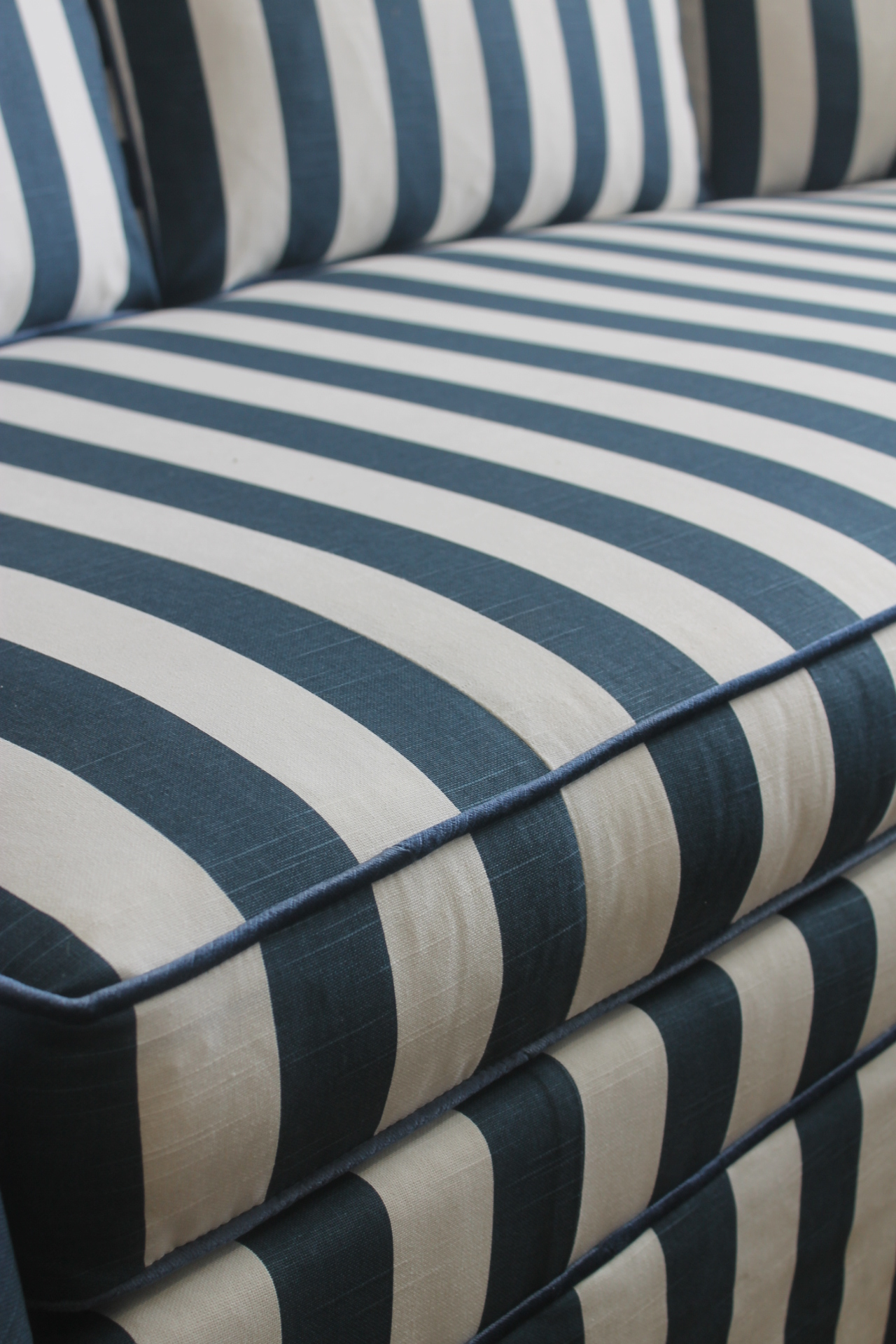 Lillian August Navy White Stripe Sofa   Image 5 Of 6