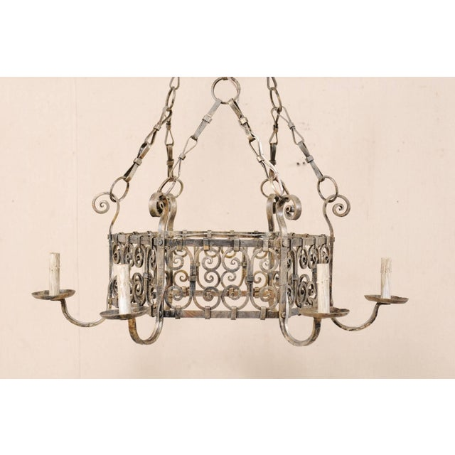 French French Midcentury Six-Light Iron Chandelier With Lovely Scrolling Pattern For Sale - Image 3 of 11