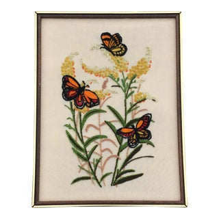 Vintage Butterflies and Flowers Crewel Needlework by Erica Wilson For Sale
