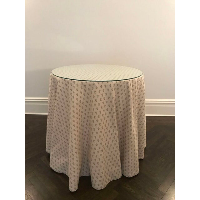 Custom Skirted Table With Glass Top - Image 3 of 5