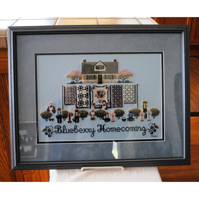 Black Amish Style Blueberry Homecoming Cross Stitch Textile Art For Sale - Image 8 of 8