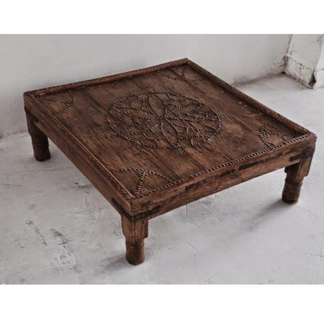Unique antique Jodhpur table with brass work. A charming piece that will stand the test of time.