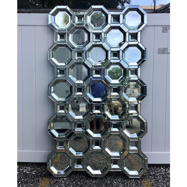 Glass Monumental Size Mid Century Style Geometric Wall Mirror For Sale - Image 7 of 7