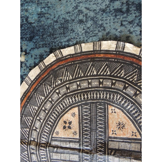 Tribal Vintage Large African Tribal Round Decorative Painted Paper Art For Sale - Image 3 of 6