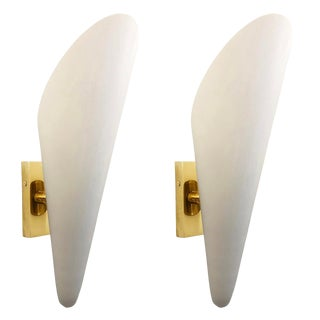 Frosted Glass Cone Sconces, Italy, 1960's - a Pair For Sale