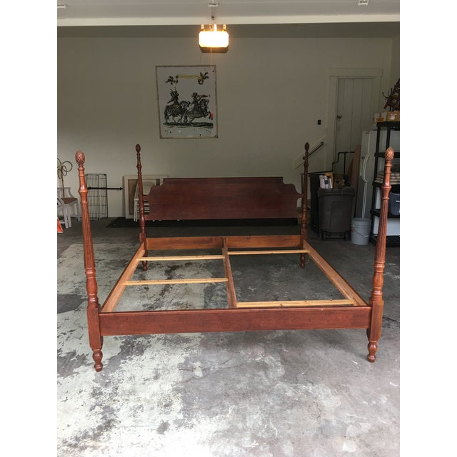Carved wood vintage four poster king size bed frame. Finials are beautifully carved as is head and foot board. Extremely...