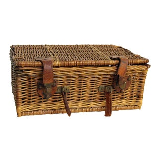Rustic Wicker Picnic Basket For Sale
