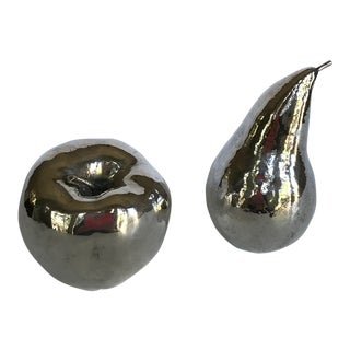 Vintage Italian Ruzzetti and Gow Silver Dipped Fruit Sculptures - a Pair For Sale