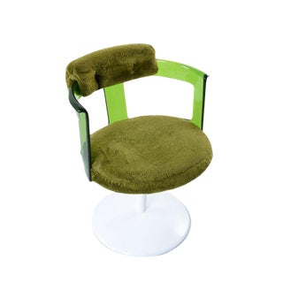 Daystrom Tulip Base Green Lucite Green Shag Swivel Arm Chair Circa 1960's For Sale