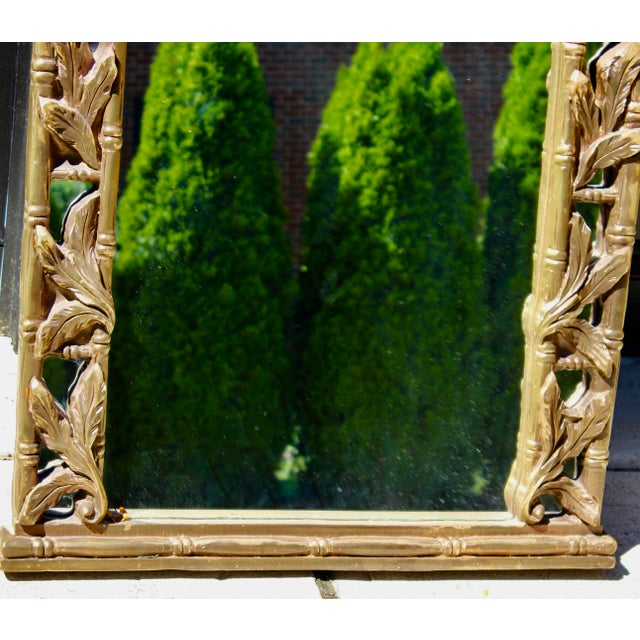 Serge Roche Vintage Serge Roche Style Hollywood Regency Gold Bamboo Palm Frond Leaves Mirror For Sale - Image 4 of 7