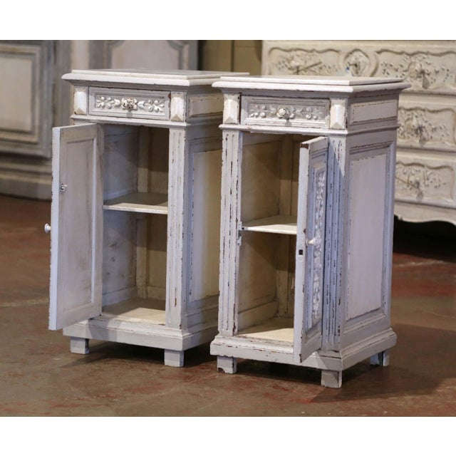 French Pair of 19th Century French Carved Painted Nightstands With Marble Top For Sale - Image 3 of 10