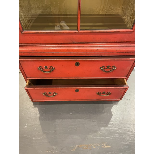 Vintage Asian Style Red Curio Cabinet For Sale - Image 4 of 9