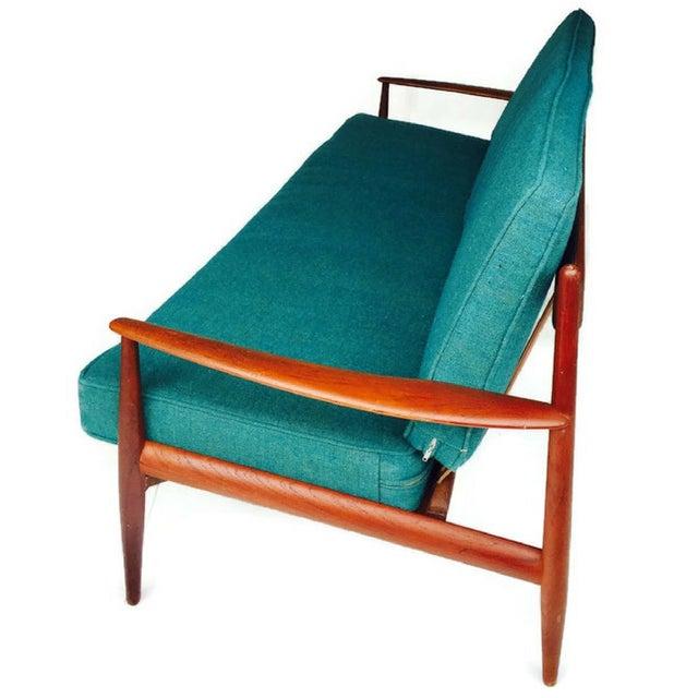 France & Daverkosen Mid-Century Modern Danish Teak Sofa Turquoise Cushions For Sale - Image 4 of 10