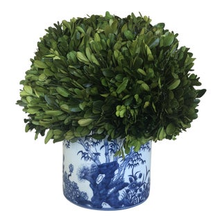 Artificial Boxwood Plant With Chinoiserie Vase For Sale