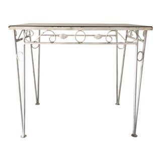 C.1970 Apartment Size Wrought Iron Glass Top Table For Sale