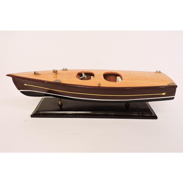 Handmade Wooden Model Vintage Speed Boat For Sale In San Francisco - Image 6 of 6