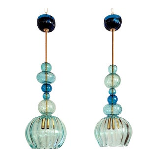 Murano Blue Glass Chandeliers Mid Century Modern Barovier Style Italy 1960s - a Pair For Sale