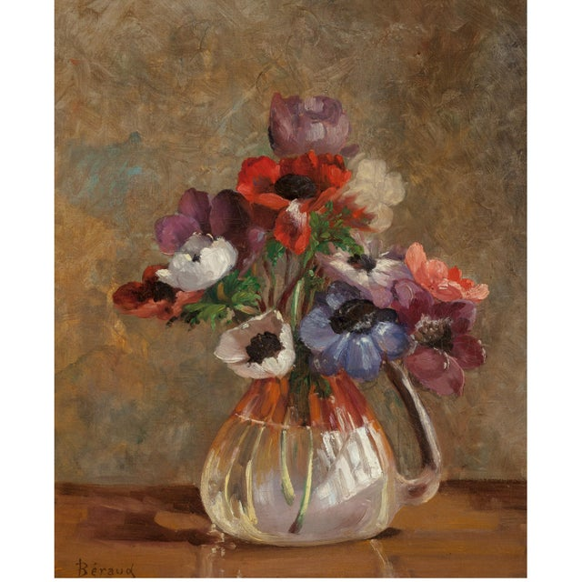 Poppies in Glass Vase Still Life Oil on Canvas Painting French Beraud Early 20th Century - Image 3 of 5