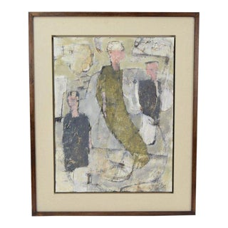 """1980s Abstract Oil Painting on Board, """"3 of Us"""" by Philip Jones For Sale"""