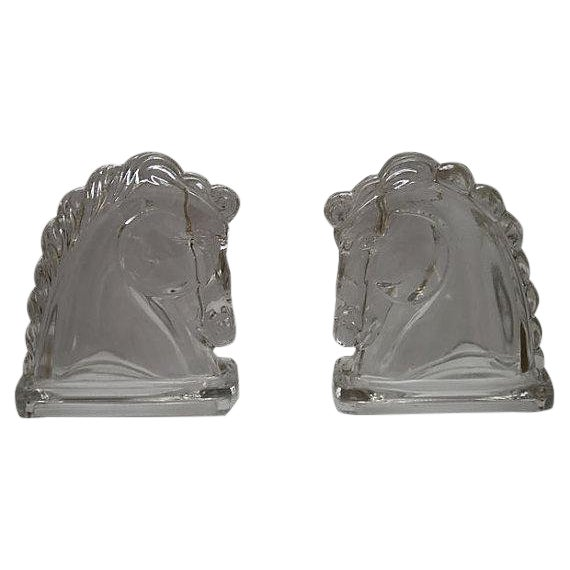 Vintage Mid Century / Midcentury Glass Horse Bookends For Sale