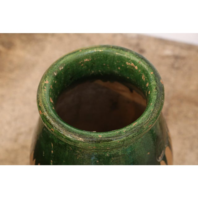 French Provincial Green Glaze Terracotta Jar For Sale - Image 3 of 9
