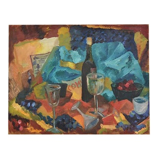 1960s Dorothy Neal Abstract Tablescape Still Life Oil Painting