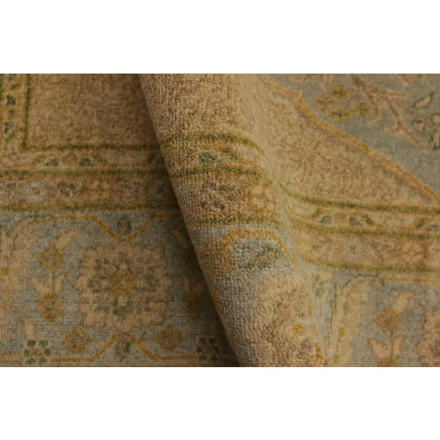 Semi Antique Istanbul George Lt. Blue/Gold Turkish Hand-Knotted Rug -5'8 X 7'4 For Sale - Image 4 of 8